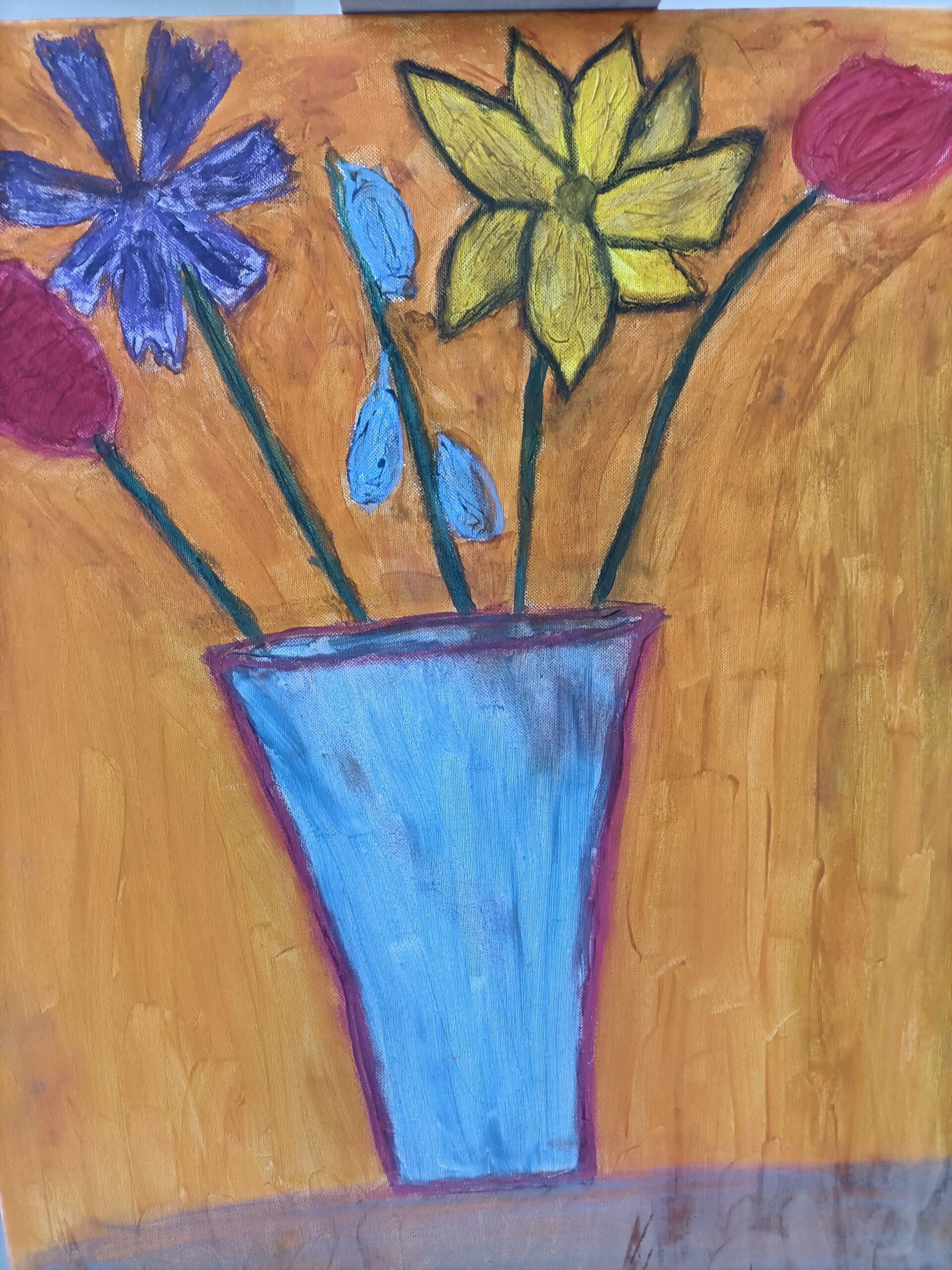 obraz wazon z kwiatami